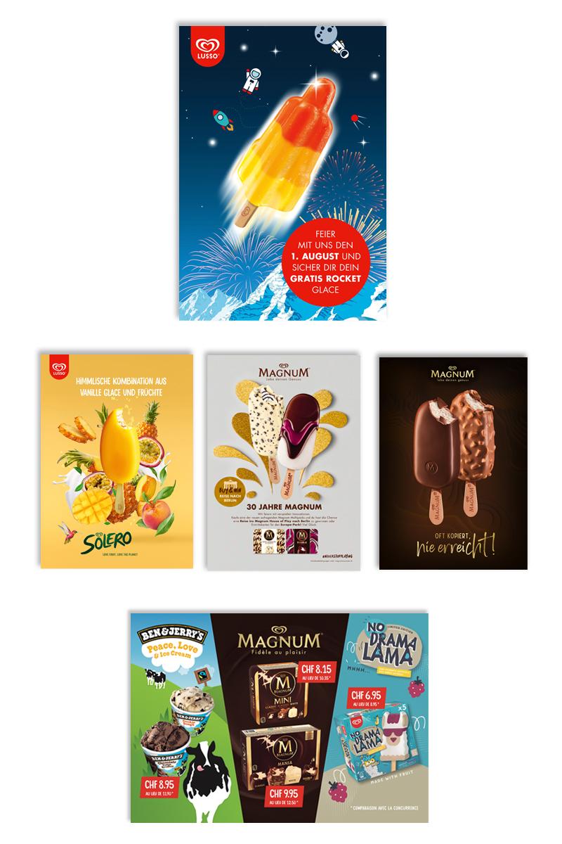 Inseratereihen und POS-Plakate für Unilever Glacen