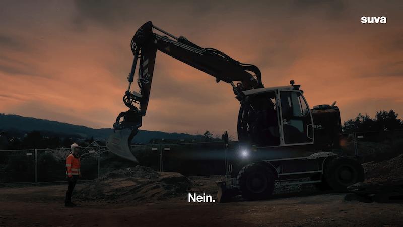 Suva Präventions-Kampagne Baumaschinenführerausbildung