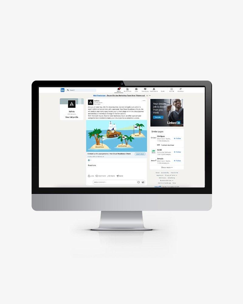 LinkedIn-Kampagnen und Infografiken für Adfinis – Streuplan